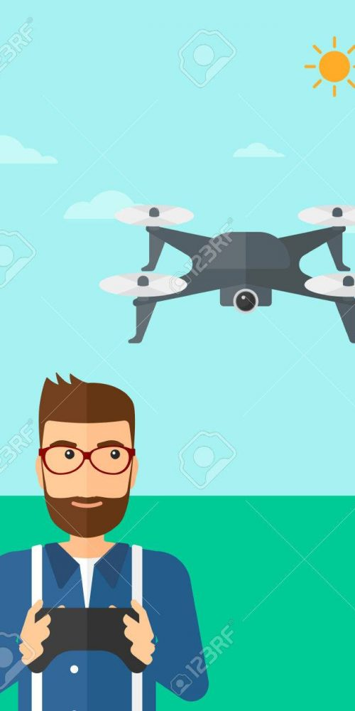 A hipster man with the beard flying drone with remote control on the background of blue sky vector flat design illustration. Vertical layout.